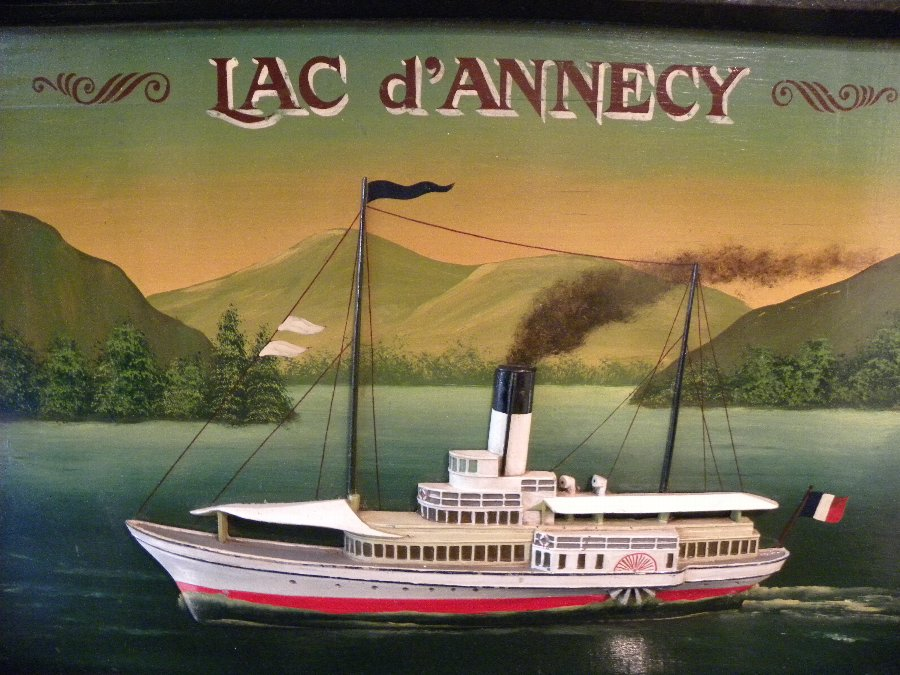A framed picture of a paddle steamer on Lake Annecy in France - Item 3178