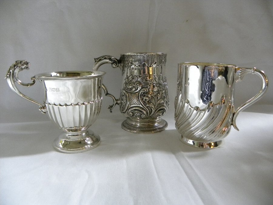 Collection of three silver hallmarked christening mugs. - Items 3188, 3189, 3190