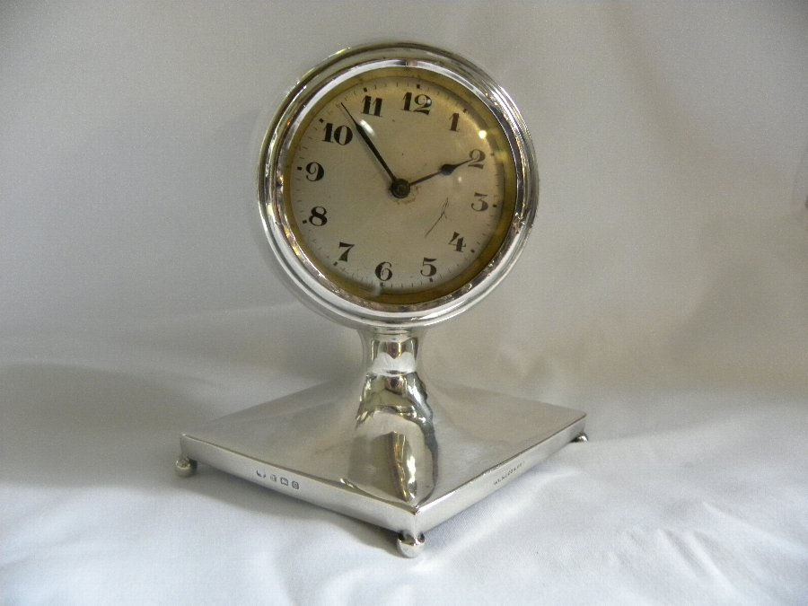 Antique Early Art Deco style silver hallmarked case table clock - Item 1077