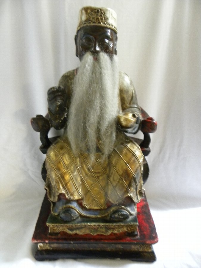 An antique Chinese carved wooden temple figure - Item 3212