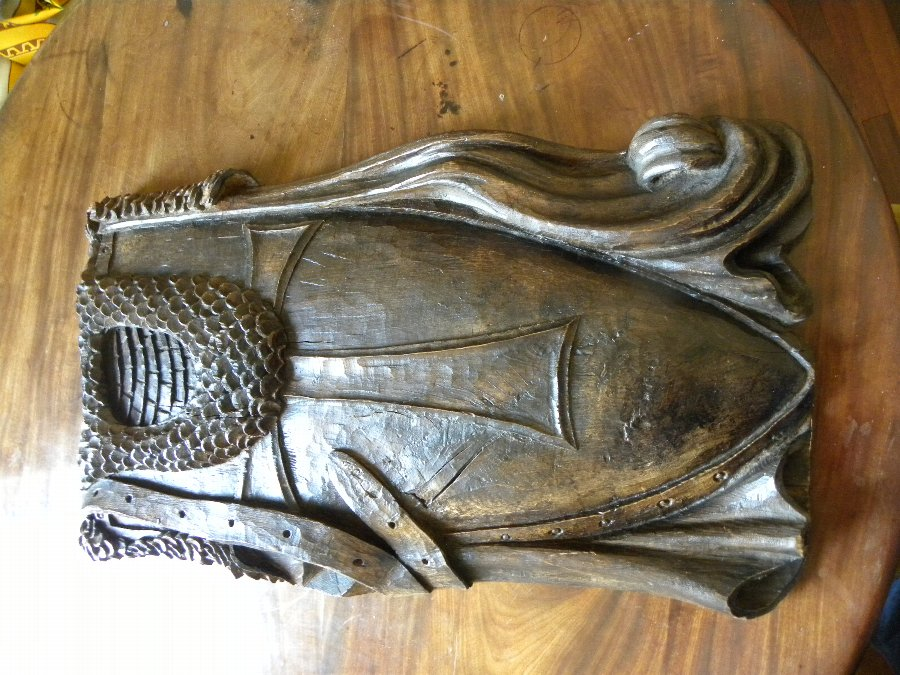 A 19thC carved oak Knights Templar Shied - Item 3217