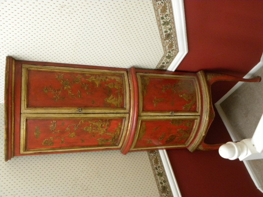 A red lacquer cream and gilt Cantonese bow fronted corner cupboard - Item 3226