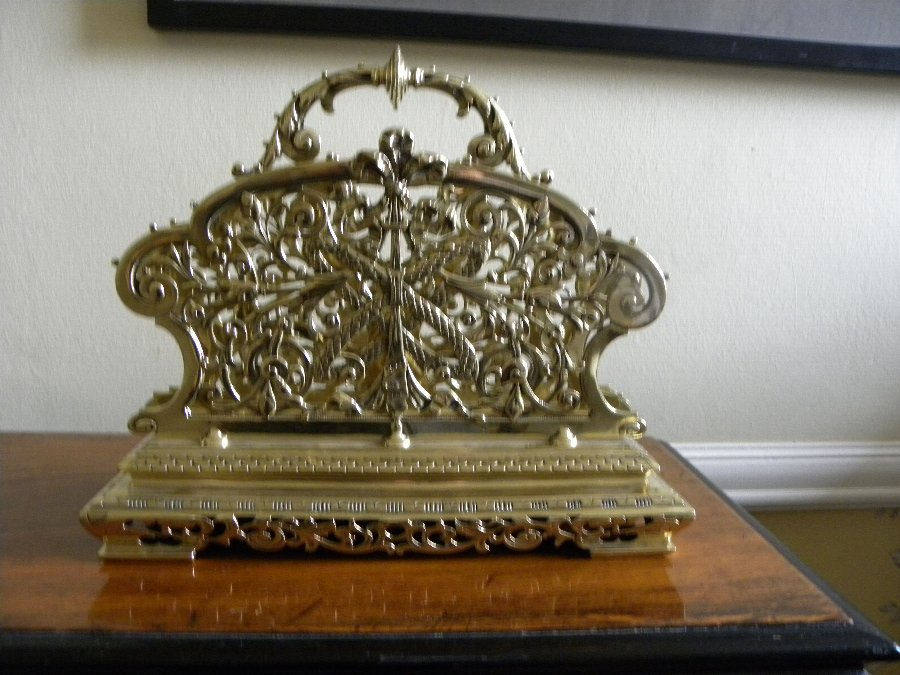 19th Century French brass magazine rack - 3318
