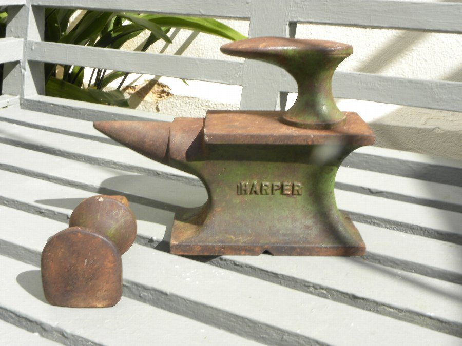 A miniature cast iron anvil by and stamped Harper - Item 3332