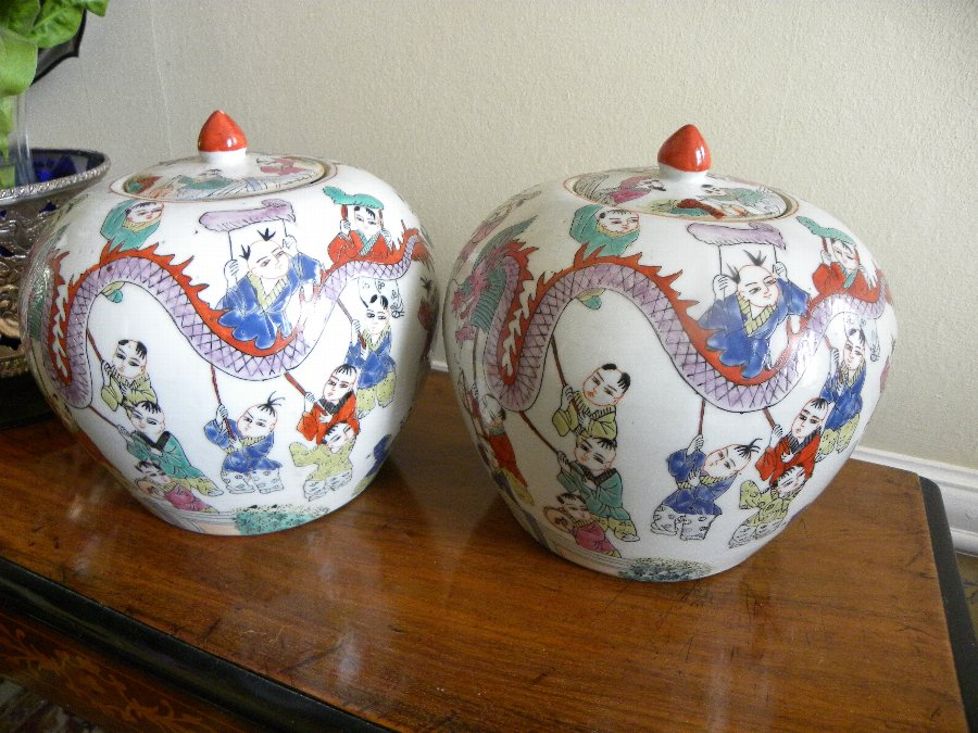 Antique A pair of oriental ginger jars with covers - Item 3343