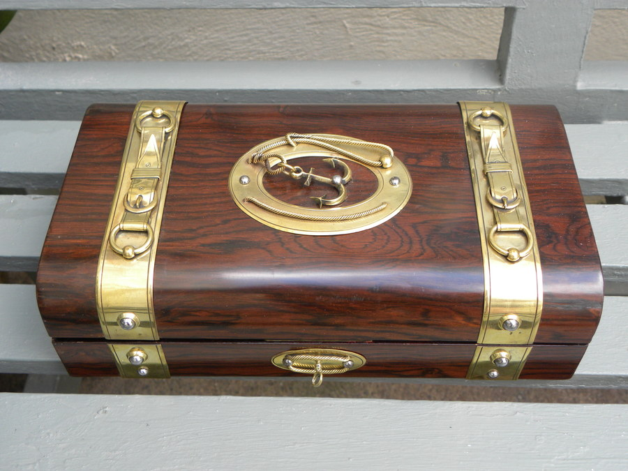Antique brass rosewood gaming box