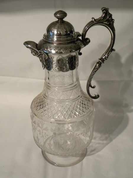 Engraved Glass and Silver coloured metal Claret Jug - Item 40