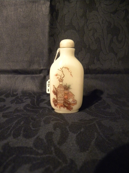 Oriental opaque hand painted glass snuff bottle