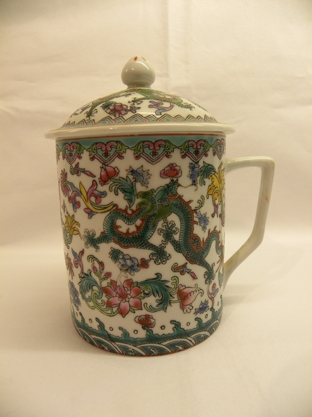 Oriental multi coloured mug with cover - Item 170