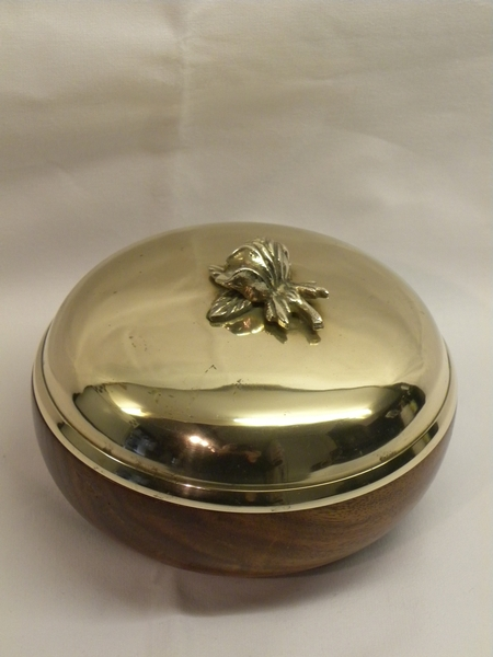 French Brass & Wood Bowl with Lid - Item 209
