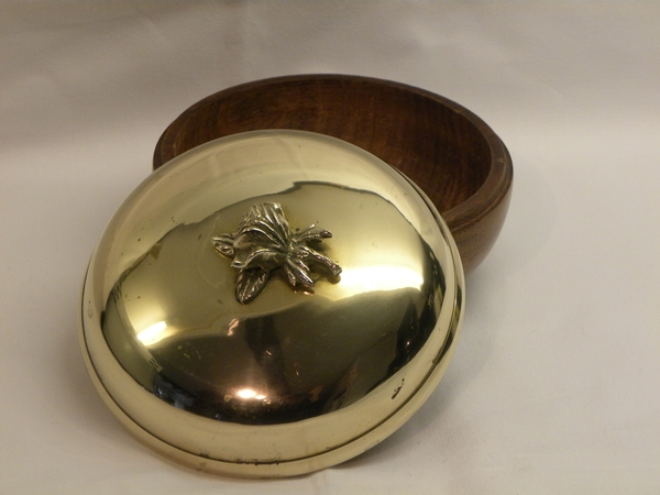 Antique French Brass & Wood Bowl with Lid - Item 209