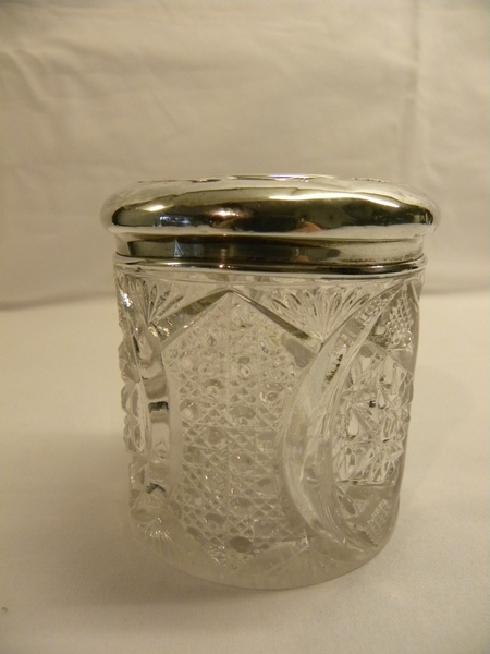 Silver topped cut glass hair tidy - Item 370