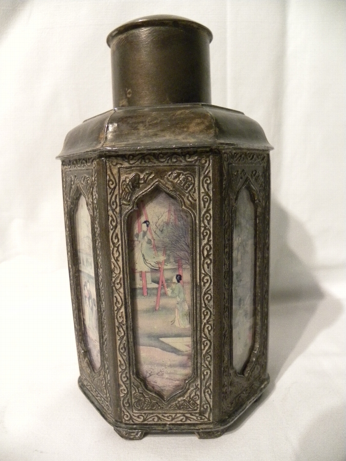 Chinese pewter tea caddy - Item 724