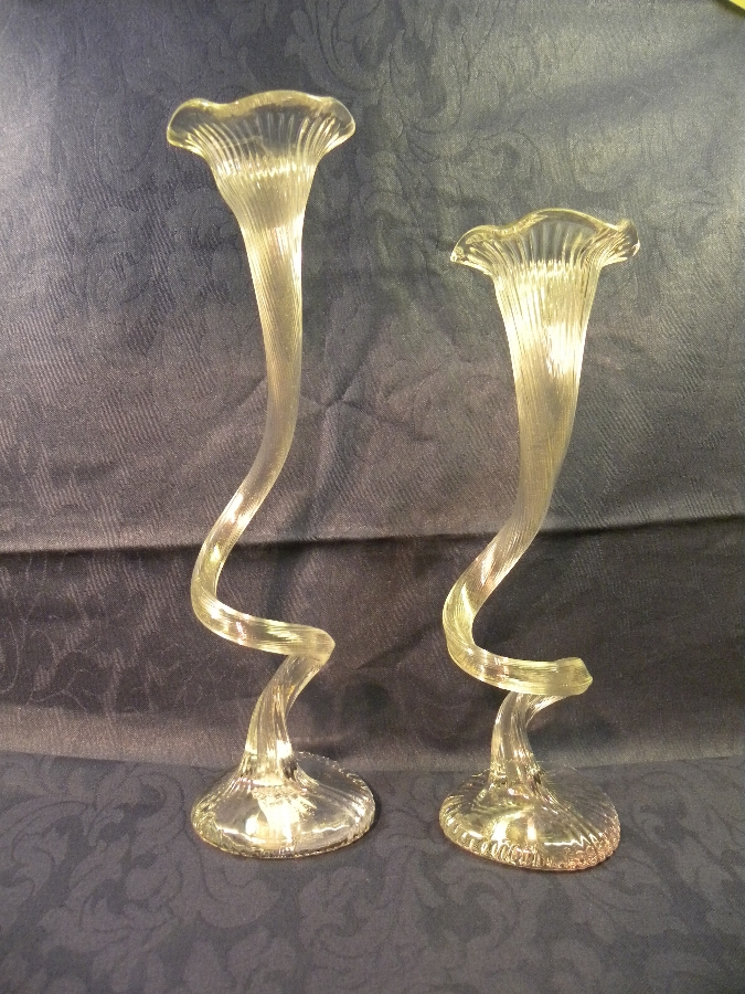 Two glass hand blown twist and fluted vases - Item 823