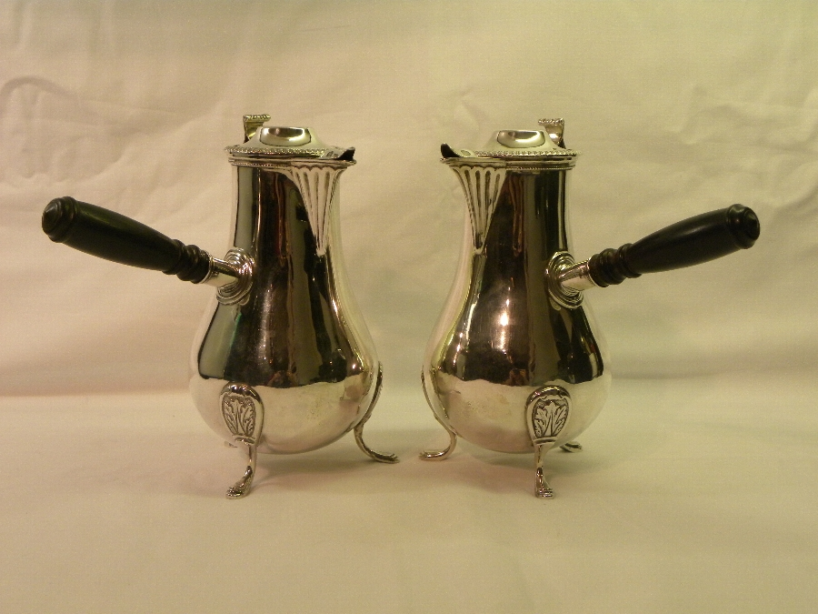 Pair of silver hallmarked Victorian cafe au lait pots - Item 833