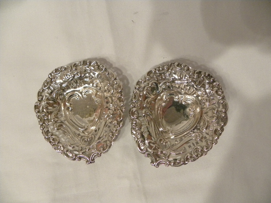 Pair of silver hallmarked heart shaped pin or bonbon dishes - Item 974