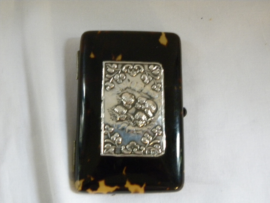 Tortoiseshell card case with hallmarked silver panel - Item 1093