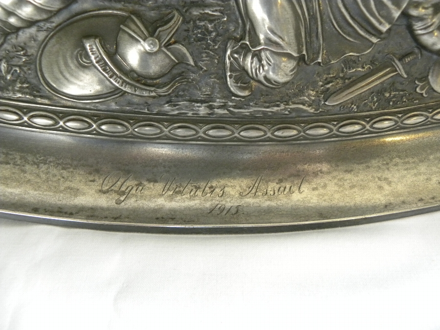 Antique Oval embossed pewter dish - Item 2002