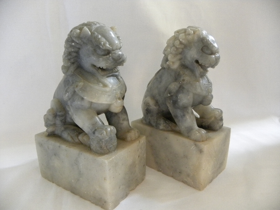 Pair of grey soapstone Chinese lion dogs - Item 2005