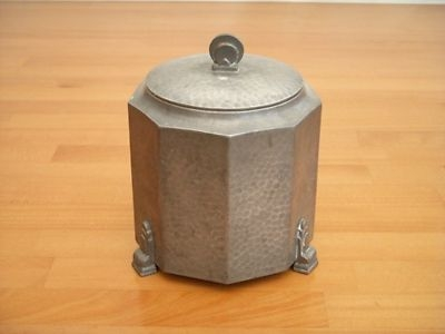 Antique BEAUTIFUL ART DECO PERIOD PEWTER BISCUIT BARREL