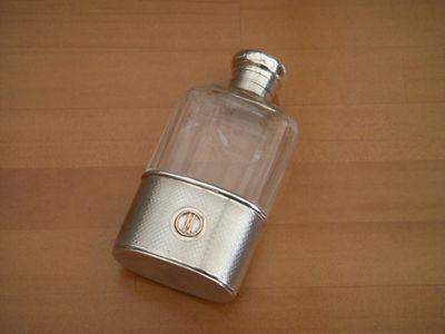 Antique ART DECO SILVER GLASS  HIP FLASK - LONDON 1924