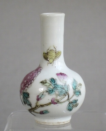 Antique Exquisite miniature Chinese famille rose vase C19th