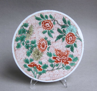 Antique Attractive Chinese Transitional polychrome plaque, Shunzhi