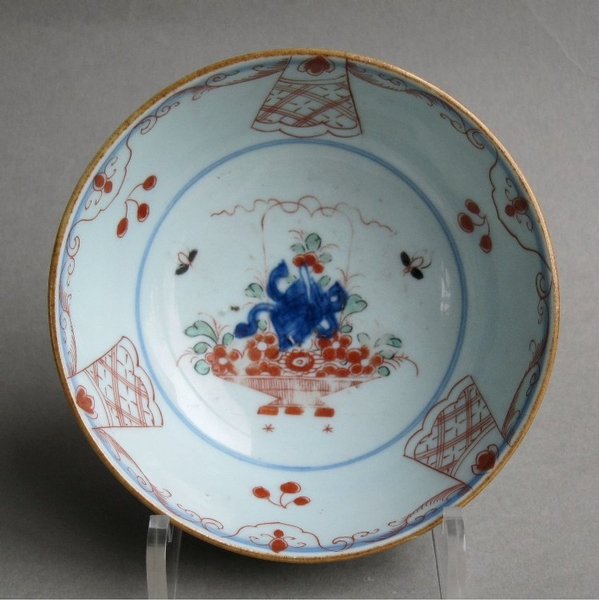 Antique Good Dutch-decorated Chinese export bowl, Amsterdams Bont