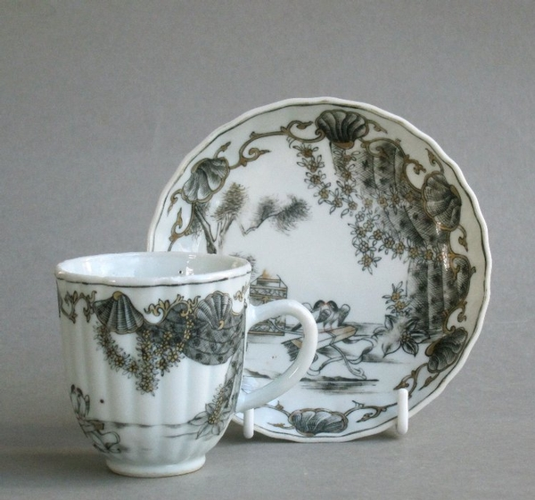 Antique Chinese export grisaille Valentine pattern cup & saucer Qianlong