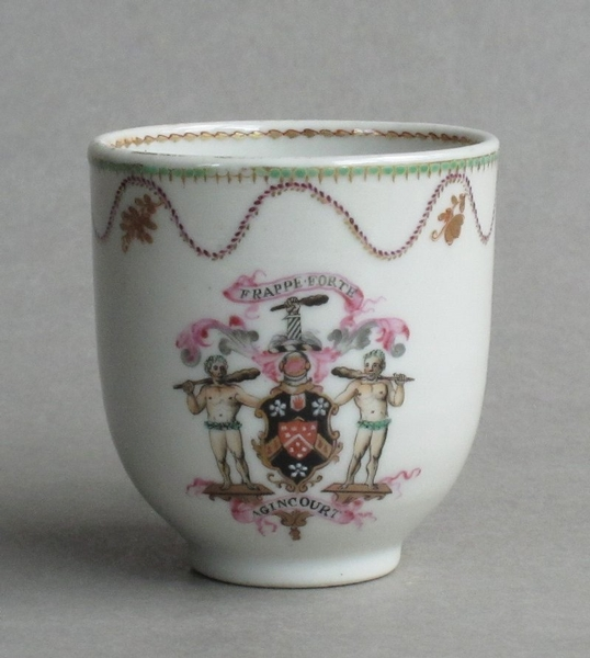 Antique Good Chinese export armorial cup & saucer Qianlong (arms of Wodehouse, family of P G Wodehouse)