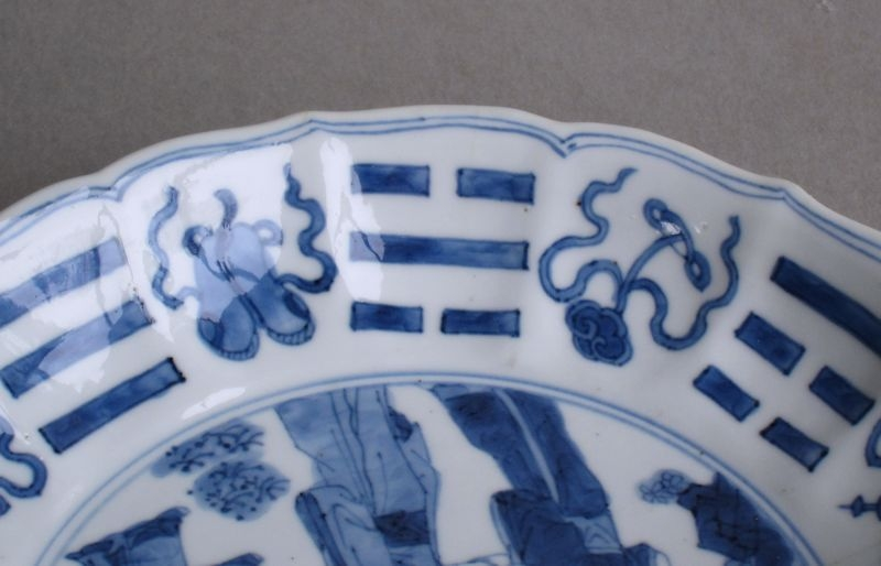 Antique Chinese blue and white dish with later silver handle, Kangxi
