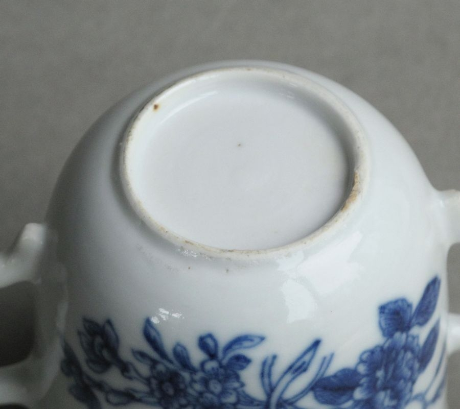 Antique Chinese export soft paste chocolate cup and trembleuse saucer, Qianlong