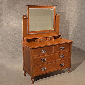 Antique Antique Oak Dressing Table Vanity Chest of Drawers English Edwardian c1910