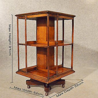 Antique Antique Oak Revolving Bookcase Library Stand Quality English Victorian c1900