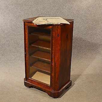 Antique Antique Music Cupboard Display Cabinet Bookcase Burr Walnut Victorian c1870