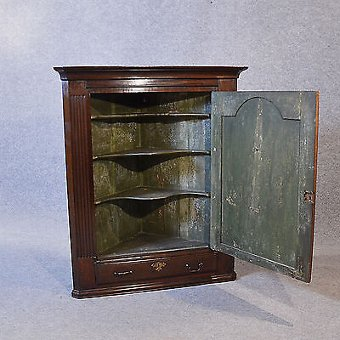 Antique Antique Oak Corner Cupboard English Georgian Wall Cabinet With Drawer c1780