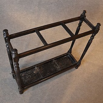 Antique Antique Stick Umbrella Hall Stand Quality Oak English Victorian Turned Leg c1880