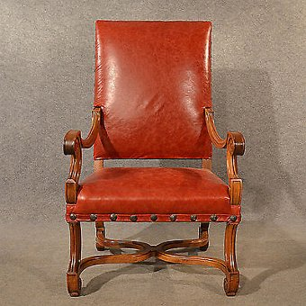 Antique Antique Leather Throne Chair Large Walnut Frame Chair French 19th Century c1880