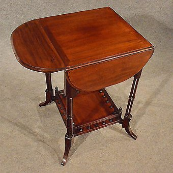 Antique Antique Petal Table Side Lamp Wine Occasional Folding Mahogany Victorian c1890