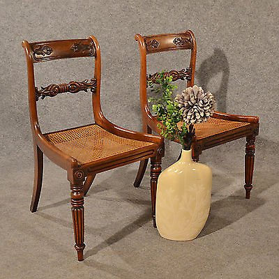 Antique Antique Pair Dining Side Chairs Quality Bergere Mahogany English Regency c1830