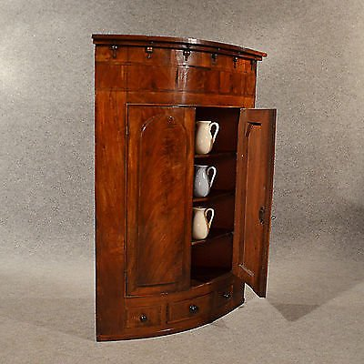 Antique Antique Bow Corner Cupboard Quality English Display Cabinet Fine Mahogany c1830