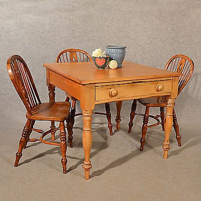 Antique Antique Pine Table Kitchen or Dining With Drawer Quality English Victorian c1900