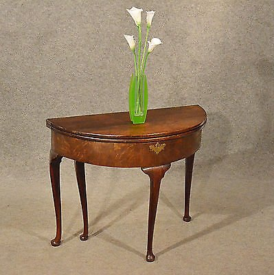 Antique Antique Side Demi Lune Hall Console Table Foldover English Georgian Oak c1800