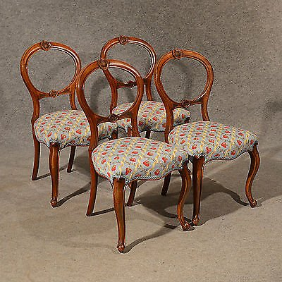 Antique Antique Dining Chairs Walnut Balloon Back Tapestry Needlepoint English c1850