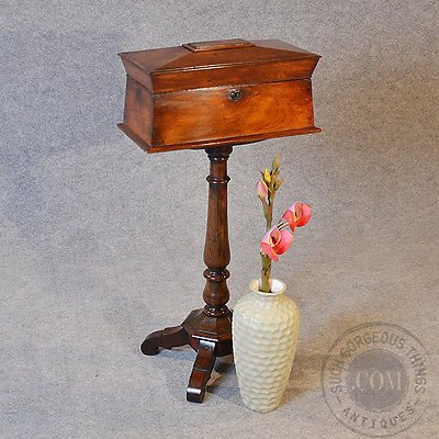 Antique Antique Tea Poy Caddy on Rosewood Stand English Regency c1820
