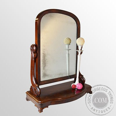 Antique Antique Dressing Vanity Swing Cosmetic Toilet Mirror English Victorian c1870