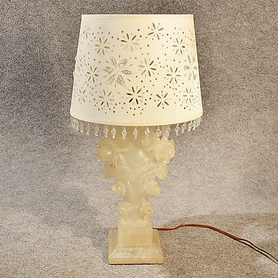 Antique Table Side Lamp Italian Art Deco Alabaster Marble Vintage c1930