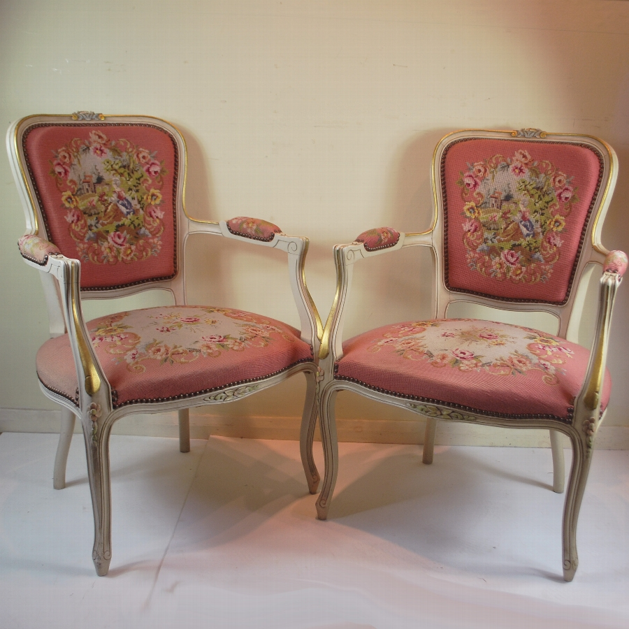 A great pair of Painted French Chairs.  (a9981)