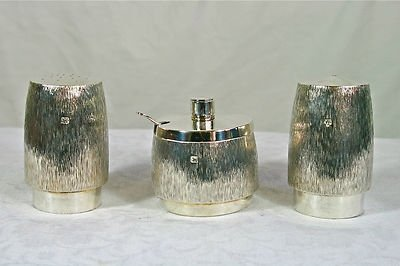 Antique Fine Sterling Silver Designer Bark Effect 3 Piece Cruet Vander London 1970