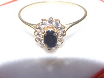Antique LOVELY ART DECO 18CT GOLD DIAMOND AND SAPPHIRE RING